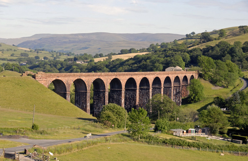 Low Gill Viaduct, 21 June 2010 1.  Here are two shots taken from a train on the WCML.  This one looks south into the Lune valley towards Sedbergh.  The viaduct is listed grade 2.
