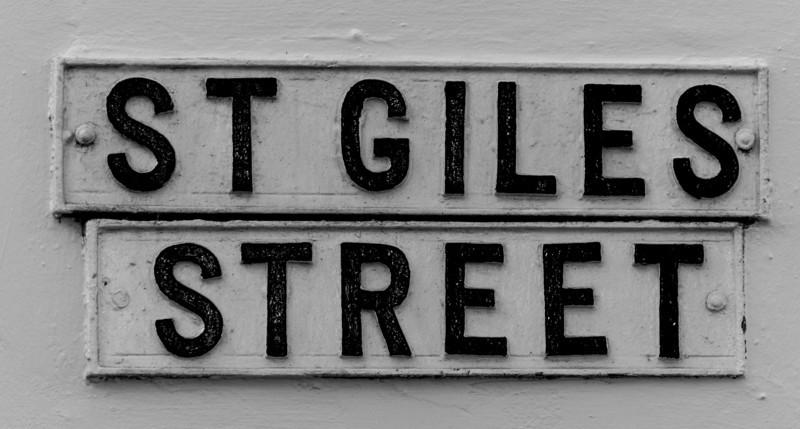 St Giles Street, cast iron sign,  Northampton