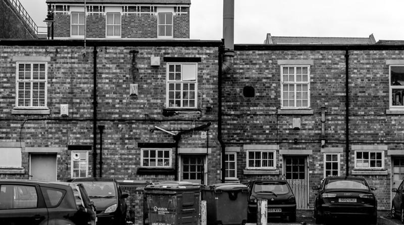 End of Castilian Terrace (backof St Gile's St shops), Northampton