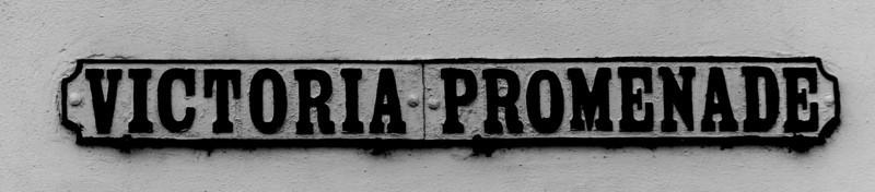 Cast Iron sign, Victoria Promenade, corner of  Derngate. Northampton