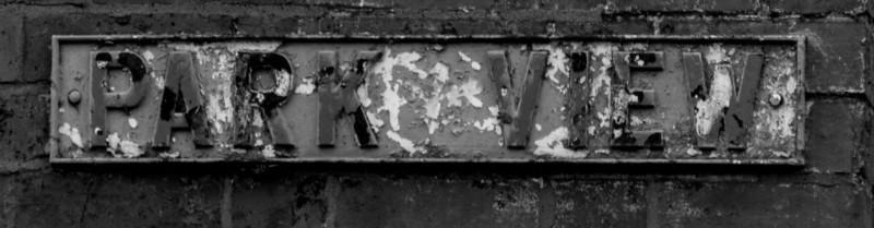 Cast iron sign, Park View, Towcester Road, Far Cotton, Northampton