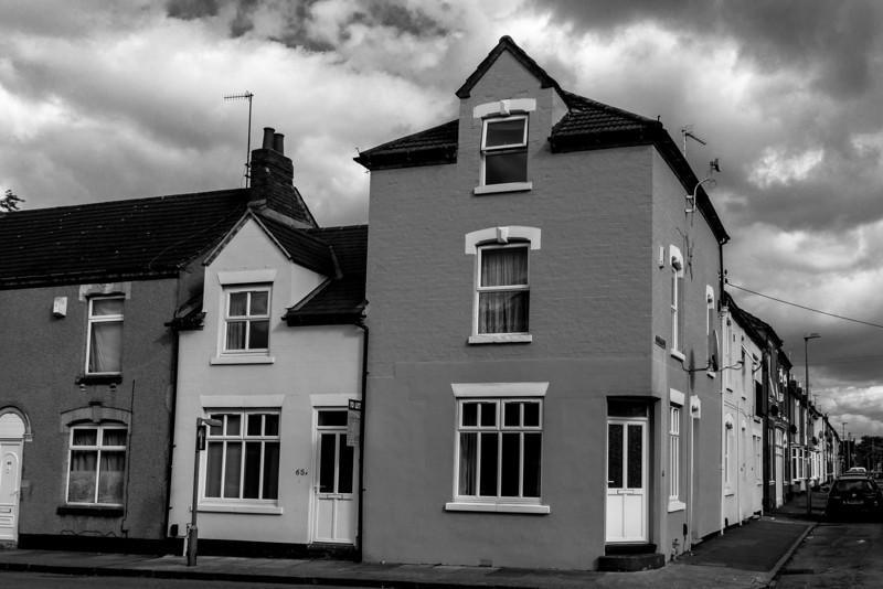 Building variety, Abbey Road and Delapre Street corner, Far Cotton, Northampton