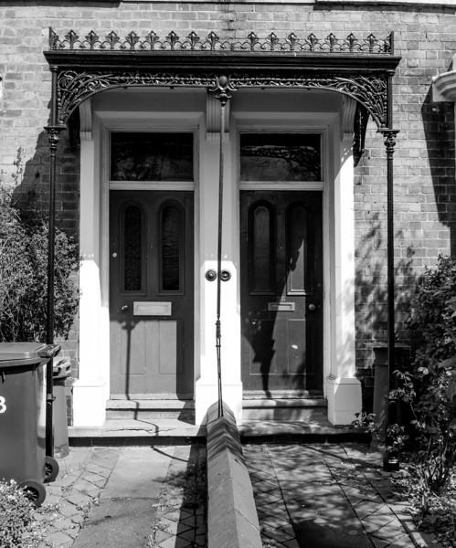 Cast iron doorcase pair, Kingsley Road, Northampton