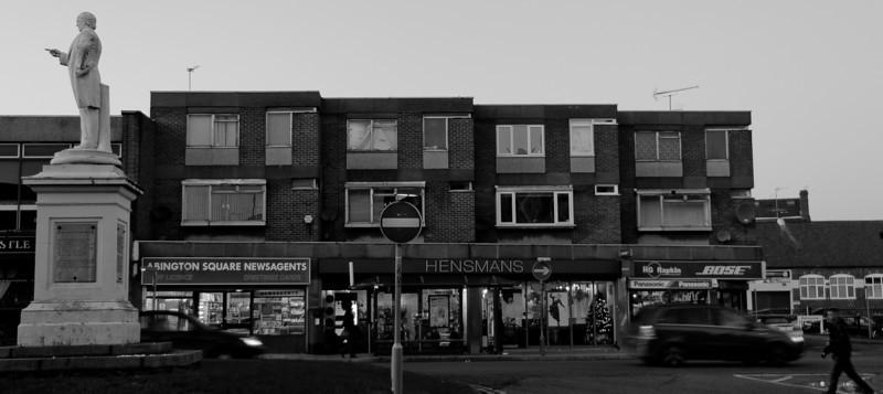 Charles Bradlaugh and 1960s shops, Abington Square, Northampton