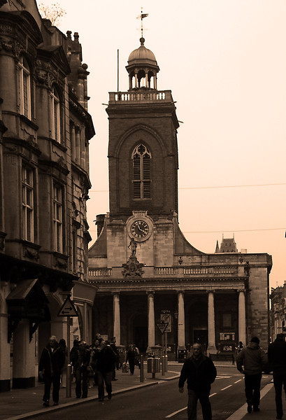 All Saints Church from Gold Street,  Northampton.<br /> The bilding on the left was formerly Belfast Linen and Boots The Chemist before that.