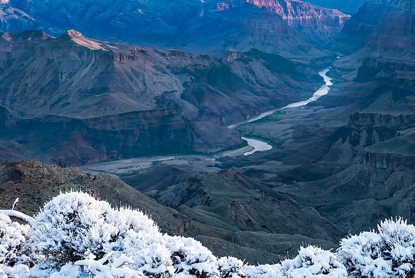 Sunrise Snow. Desert View, Grand Canyon.