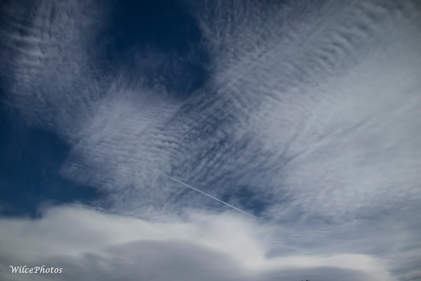 Contrail Piercing Clouds (Cirrocumulus?); (Photo #6384)