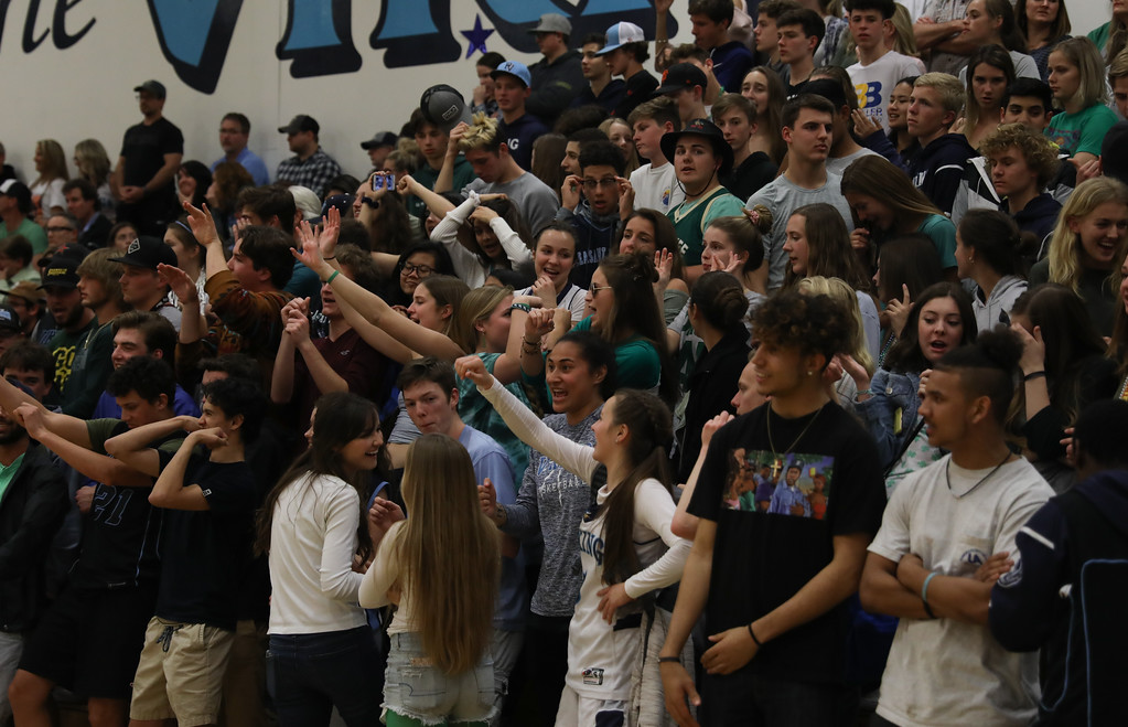 . The crowd cheers during the Pleasant Valley championship game against Valley Christian High, March 17, 2018, in Chico, California. (Carin Dorghalli -- Enterprise-Record)