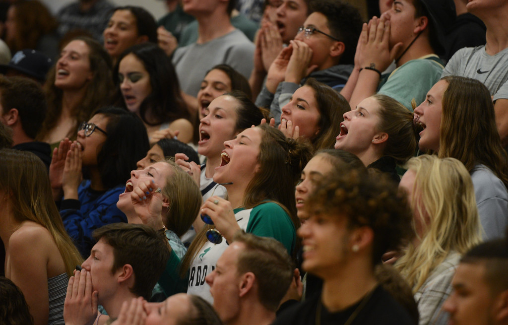 . The crowd cheers as Pleasant Valley High plays Central Catholic High in the Northern California Championship game, March 17, 2018, in Chico, California. (Carin Dorghalli -- Enterprise-Record)