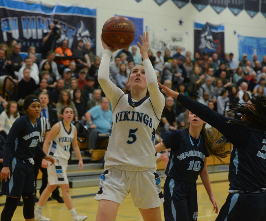 . Pleasant Valley High\'s Chloe Mayer goes up for a shot during the Northern California Championship game, March 17, 2018, in Chico, California. (Carin Dorghalli -- Enterprise-Record)
