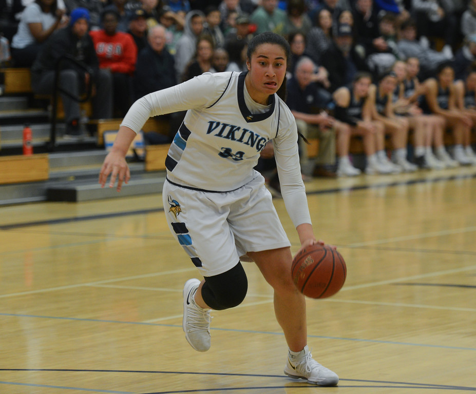 . Pleasant Valley\'s Sirena Tuitele dribbles the ball during the Northern California Championship game, March 17, 2018, in Chico, California. (Carin Dorghalli -- Enterprise-Record)