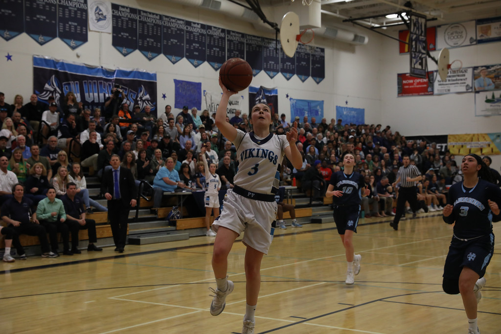 . Pleasant Valley High\'s Claire Garcia (3) goes up for a shot during the Northern California Championship game, March 17, 2018, in Chico, California. (Carin Dorghalli -- Enterprise-Record)