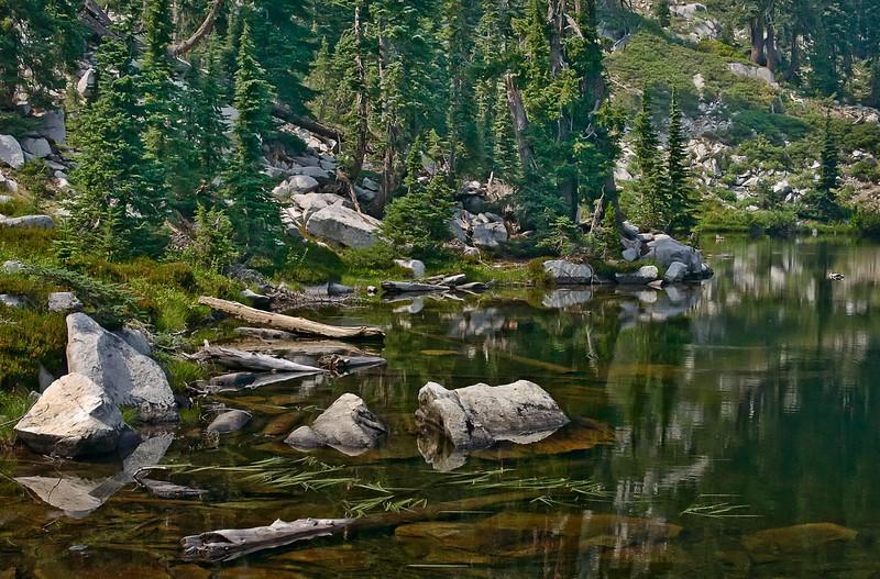 Doe Lake In Trinity Alps Wilderness Area -  Beauty In An Untidy Shoreline!