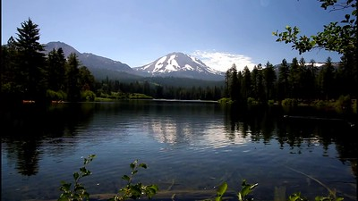 Lassen Peak with ducks at Manzanita Lake