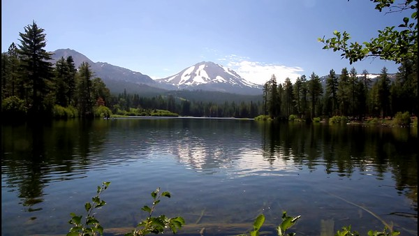 Peaceful Manzanita Lake and Lassen Peak