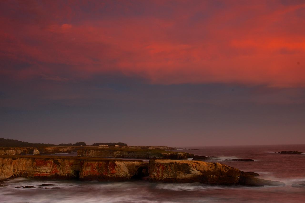Sunset Over outcrop Stornetta Preserve.