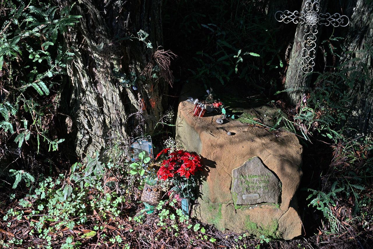 Memorial near bridge North Fork of Gualala River