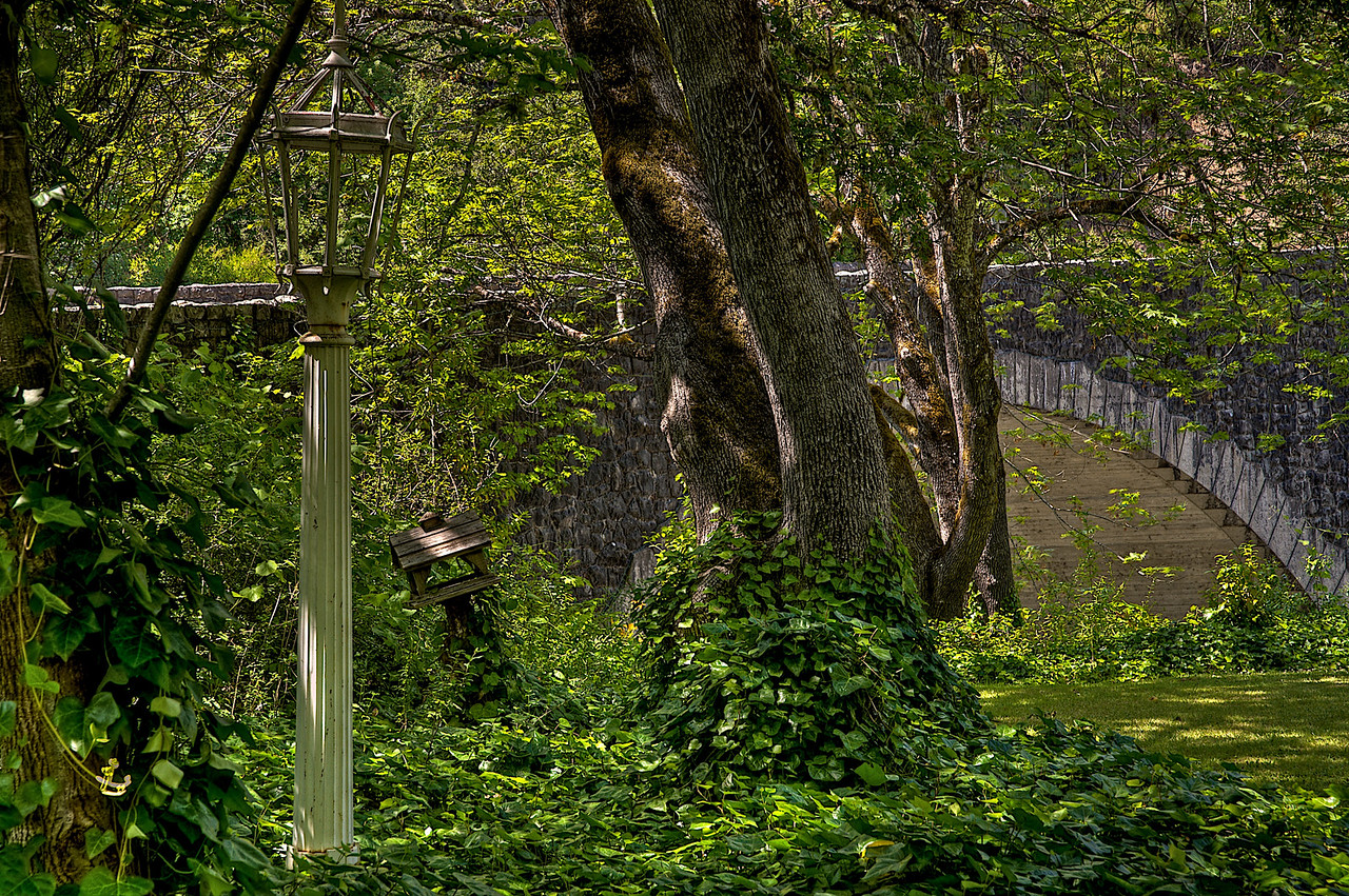 Bridge and garden HDRI image