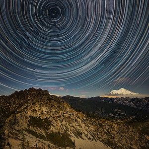 Star Trails over Mt. Shasta