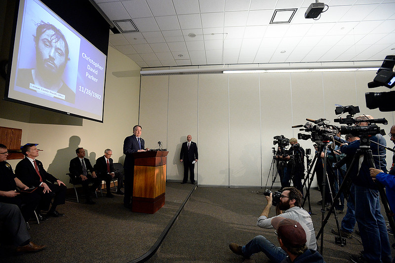 Todd Sandstedt, FBI agent and assistant commander of the Northern Colorado Task Force, speaks Thursday, March 15, 2018, about the arrest of Christopher David Parker for the 2015 killing of Loveland resident William Connole.  (Photo by Jenny Sparks/Loveland Reporter-Herald)