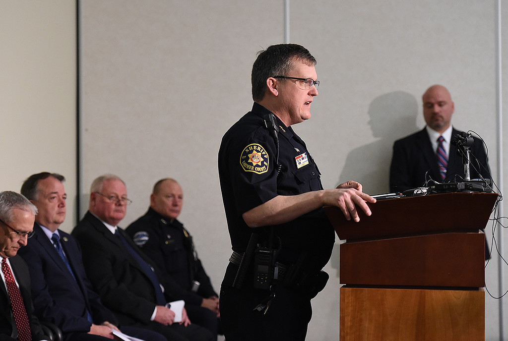 . Larimer County Sheriif Justin Smith speaks Thursday, March 15, 2018, during a Northern Colorado Task Force press conference about the arrest of Christopher David Parker in the 2015 killing of Loveland resident William Connole. (Photo by Jenny Sparks/Loveland Reporter-Herald)