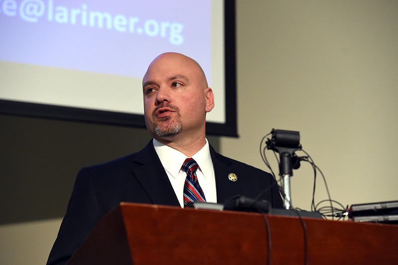 Larimer County Sheriff's Department spokesman David Moore speaks during a Northern Colorado Task Force, speaks during a press conference Thursday, March 15, 2018, about the arrest of Christopher David Parker in the 2015 killing of Loveland resident William Connole. (Photo by Jenny Sparks/Loveland Reporter-Herald)