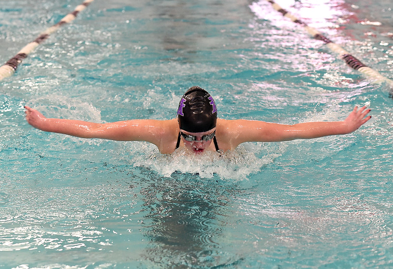 Mountain View's Abigail O'Donnell swims the 100 yard butterfly Friday, Feb. 3, 2017, during the Northern Conference Championships at Mountain View High School in Loveland.  (photo by Jenny Sparks/ Loveland Reporter-Herald)