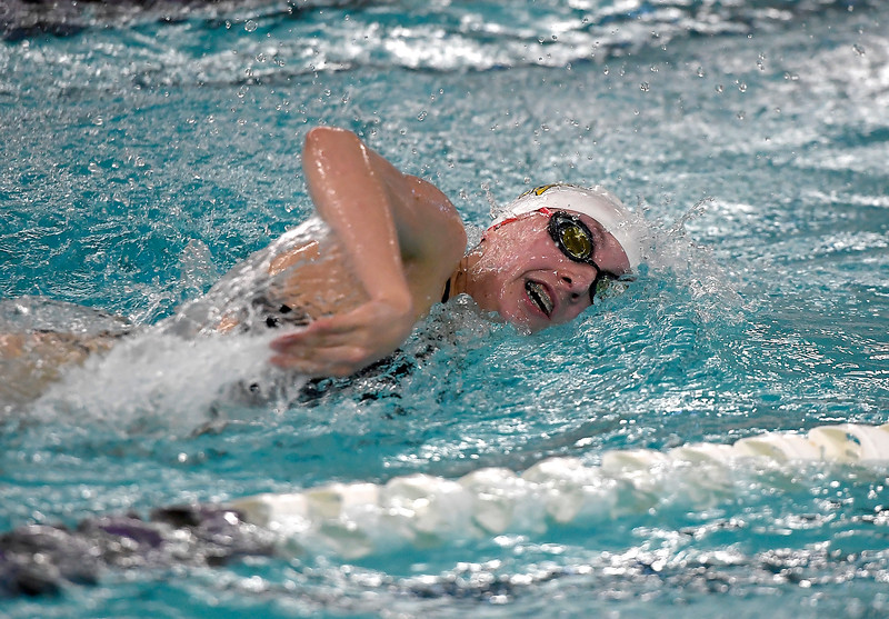 Mountain View's Adley rison swims the 100 yard freestyle Friday, Feb. 3, 2017, during the Northern Conference Championships at Mountain View High School in Loveland.  (photo by Logan O'Brien/ Loveland Reporter-Herald)