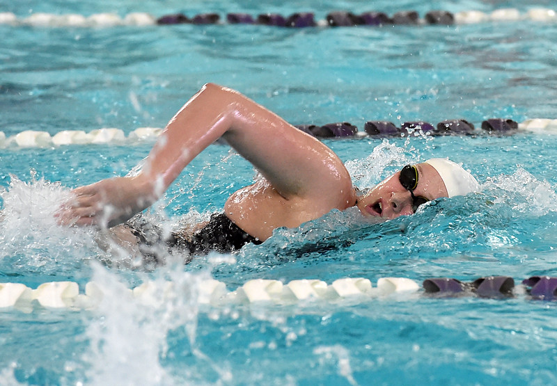 Mountain View's Sophie Kubik swims the 200 yard freestyle Friday, Feb. 3, 2017, during the Northern Conference Championships at Mountain View High School in Loveland.  (photo by Jenny Sparks/ Loveland Reporter-Herald)