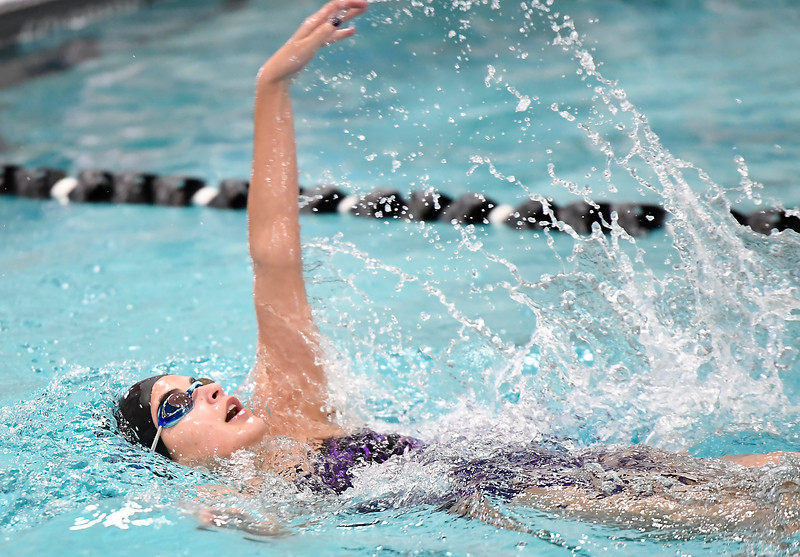 Mountain View's Sophie Busse swims the 200 individual medley Friday, Feb. 3, 2017, during the Northern Conference Championships at Mountain View High School in Loveland.  (photo by Logan O'Brien/ Loveland Reporter-Herald)