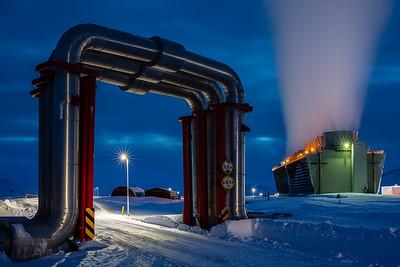 Krafla Power Station - The Pipe Bridge at Dusk
