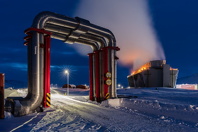 Krafla Power Station - The Pipe Bridge at Dusk mkII