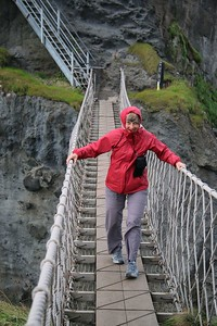Bundy on the rope bridge at Carrick-an-Rede