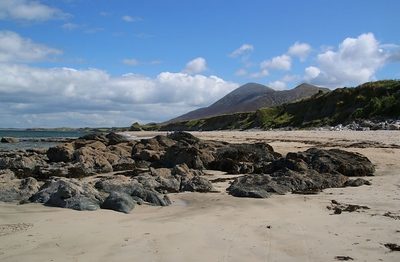 Beach at Old Head with Croagh Patrick