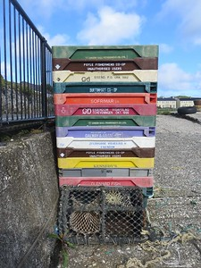 Fish boxes at Rathlin harbour