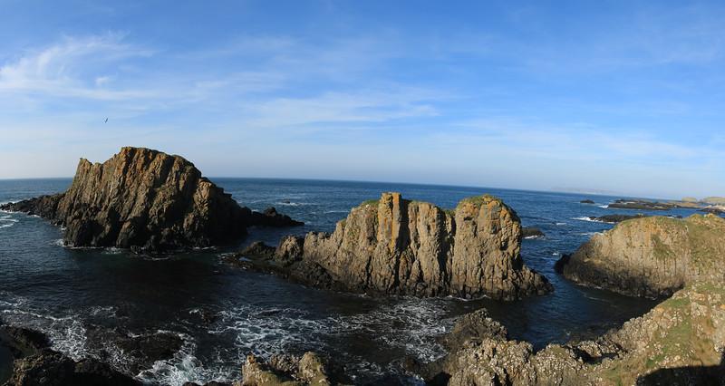 Panorama view of cliffs, Ballintoy Coastline, County Antrim, Northern Ireland