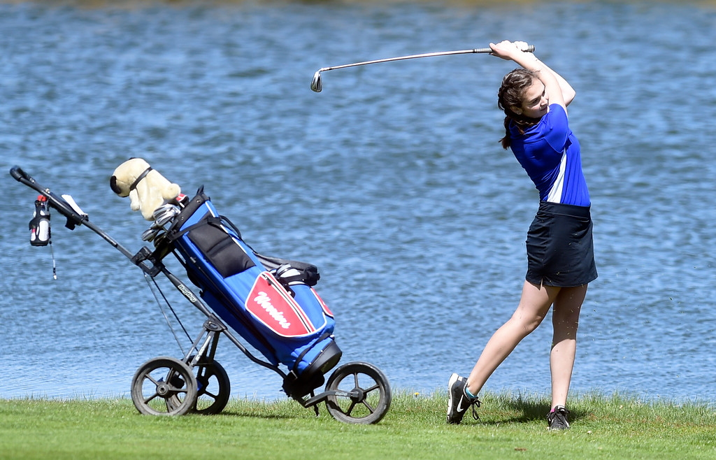. Centaurus High School\'s Katie Strohl tries to hit the green  during the first-round of the Northern League Golf Tournament on Wednesday at the Indian Peaks Golf Course in Lafayette. More photos: www.BoCoPreps.com Jeremy Papasso/ Staff Photographer/ April 19, 2017