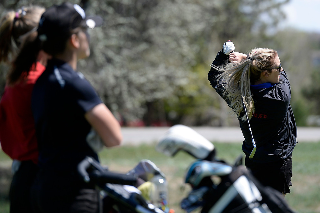 . Centaurus High School\'s Brie Nickal tees off during the first-round of the Northern League Golf Tournament on Wednesday at the Indian Peaks Golf Course in Lafayette. More photos: www.BoCoPreps.com Jeremy Papasso/ Staff Photographer/ April 19, 2017