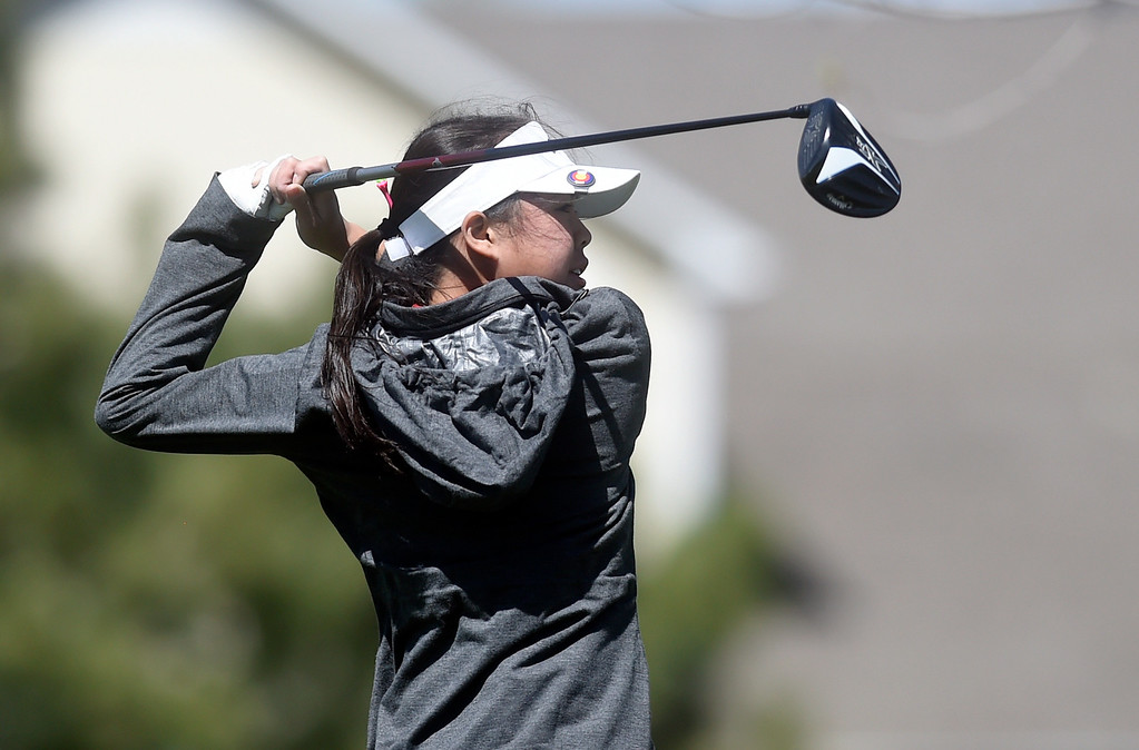 . Loveland High School\'s Casey Bradley tees off during the first-round of the Northern League Golf Tournament on Wednesday at the Indian Peaks Golf Course in Lafayette. More photos: www.BoCoPreps.com Jeremy Papasso/ Staff Photographer/ April 19, 2017
