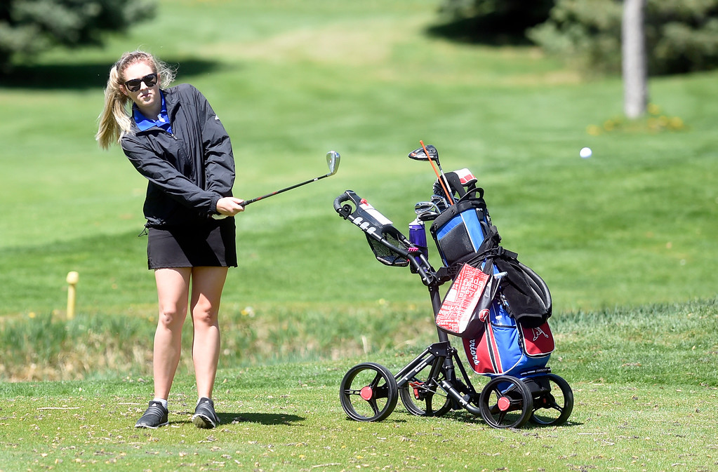 . Centaurus High School\'s Brie Nickal chips on to the green during the first-round of the Northern League Golf Tournament on Wednesday at the Indian Peaks Golf Course in Lafayette. More photos: www.BoCoPreps.com Jeremy Papasso/ Staff Photographer/ April 19, 2017