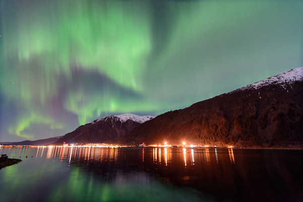 1 Northern Lights over downtown Juneau, AK  March 1, 2015