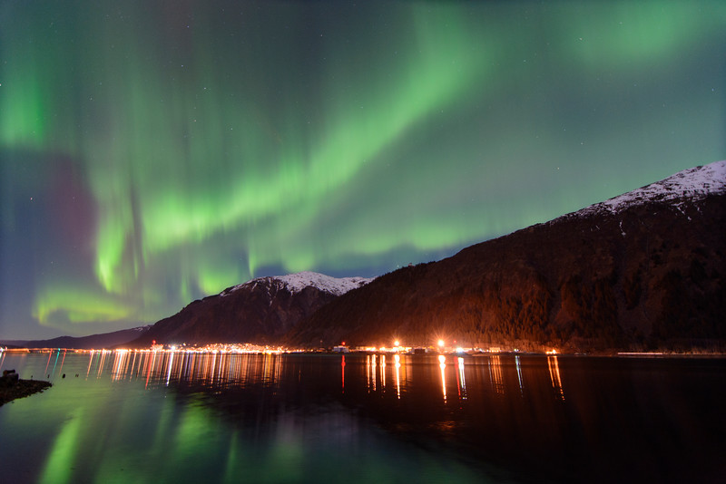 2 Northern Lights over downtown Juneau, Ak March 1, 2015