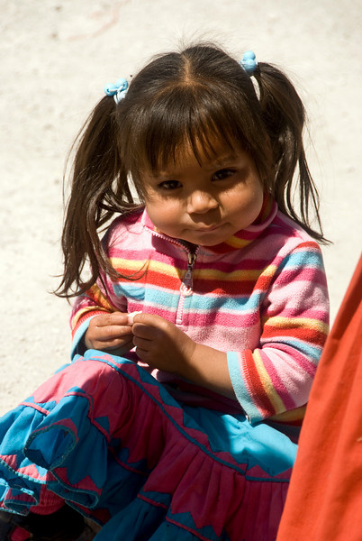 Tarahumara Indian toddler outside her home