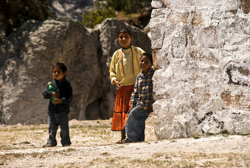 Tarahumara children outside the church.
