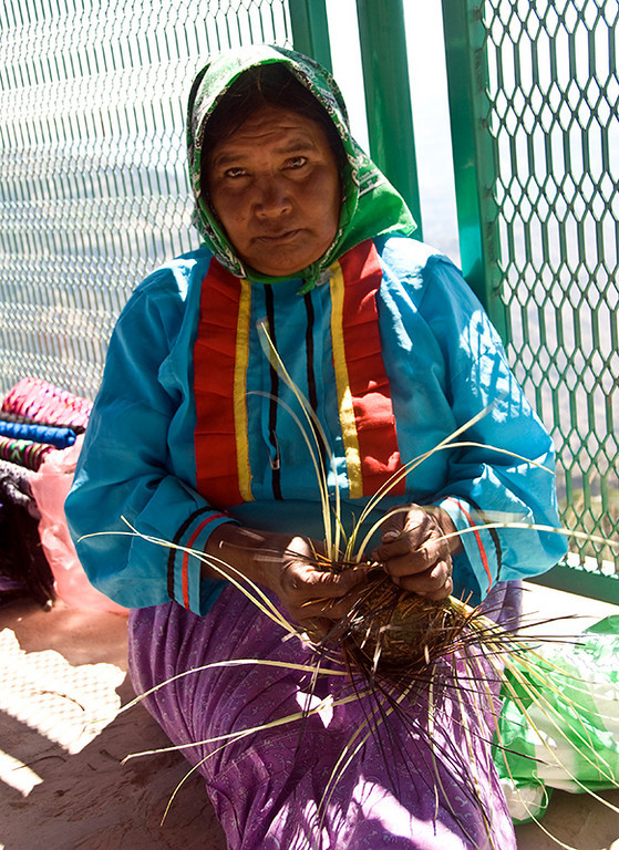 Tarahumara Indian woman weaving at lookout point