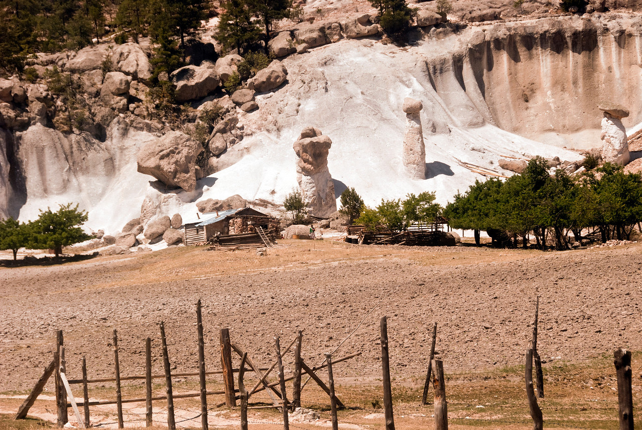 Home and rock formations Tarahumara village