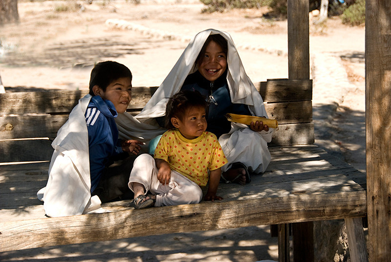 Tarahumara Indian children while their parents worked nearby selling baskets and some jewelry
