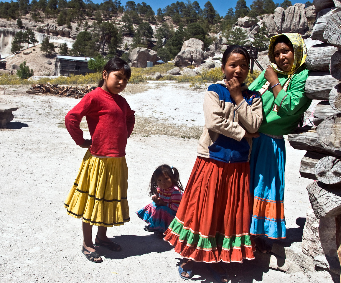 Tarahumara children outside their home