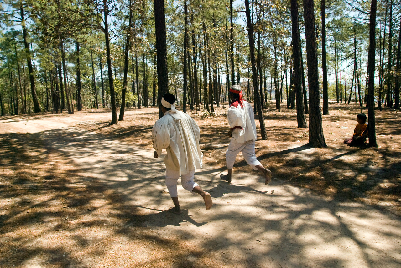 "Tarahumara means ""Foot racer"" and they are very fast.   They play a game where they kick a ball a specified distance and returns.Whoever kicks the farthest  over the finish line wins."