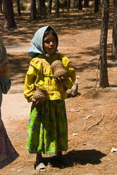 Tarahumara Indian girl with baskets 2